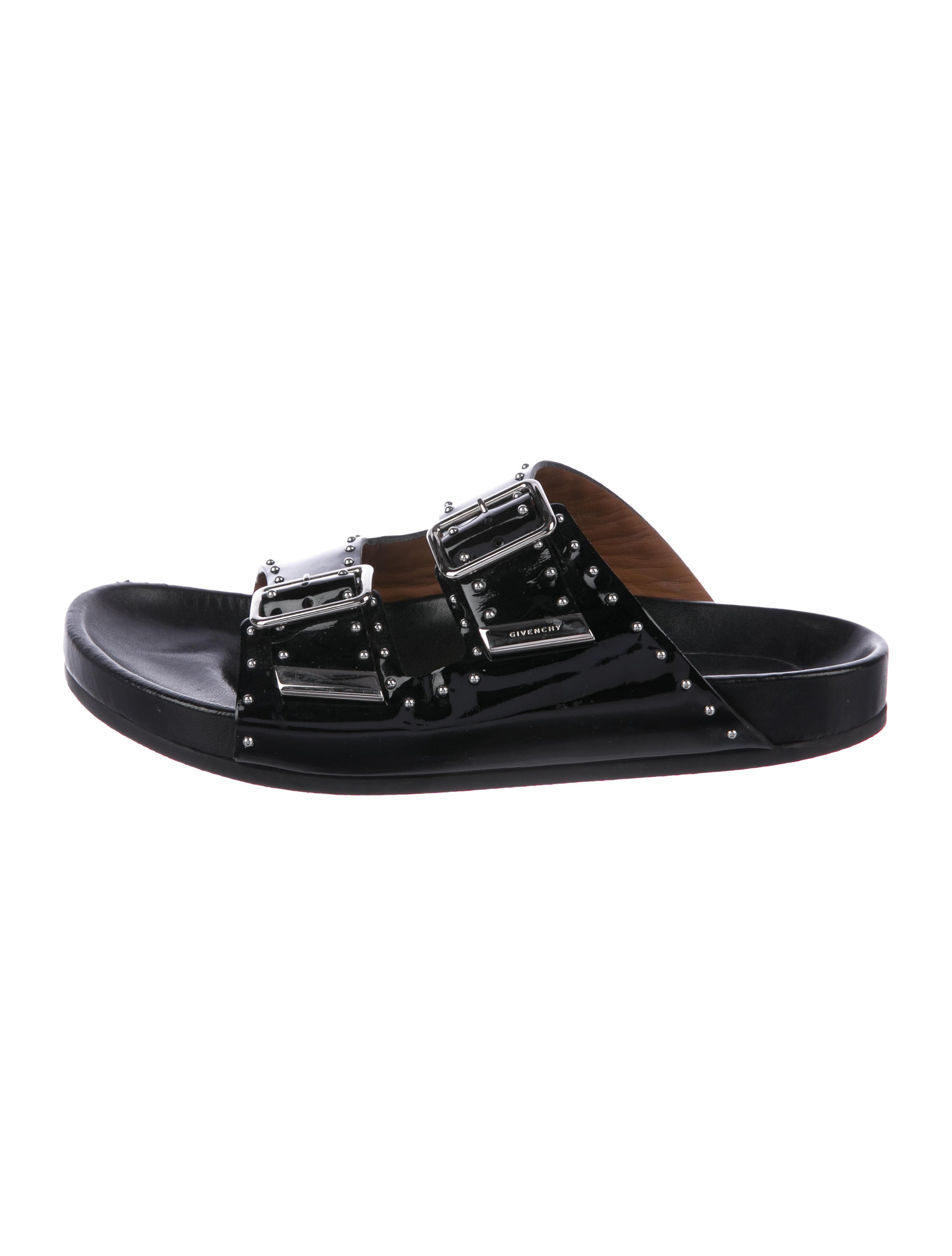 4f9bf9687252 Givenchy Patent Leather Slide Sandals - Shoes - GIV51205