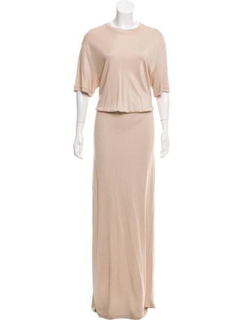 Givenchy Short Sleeve Evening Dress Beige