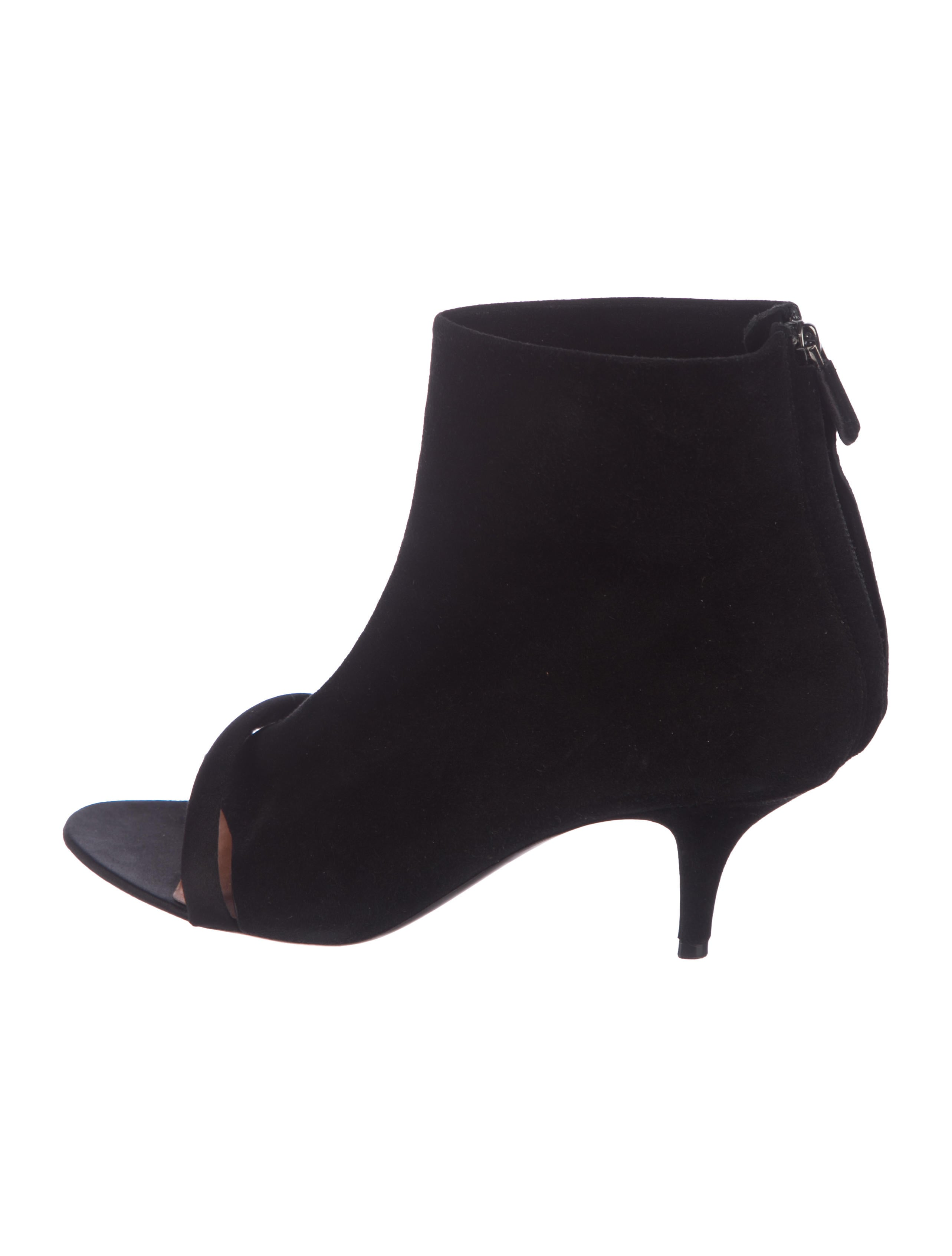 26cfed0a8675 Givenchy Suede Peep-Toe Ankle Booties - Shoes - GIV63067