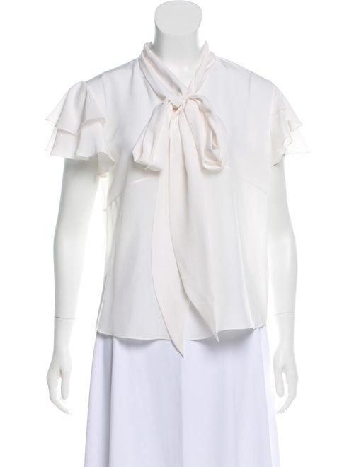 Givenchy Short Sleeve Ruffle Blouse White