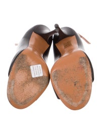 Leather Peep-Toe Pumps image 5
