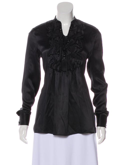 Givenchy Silk Long Sleeve Blouse Black