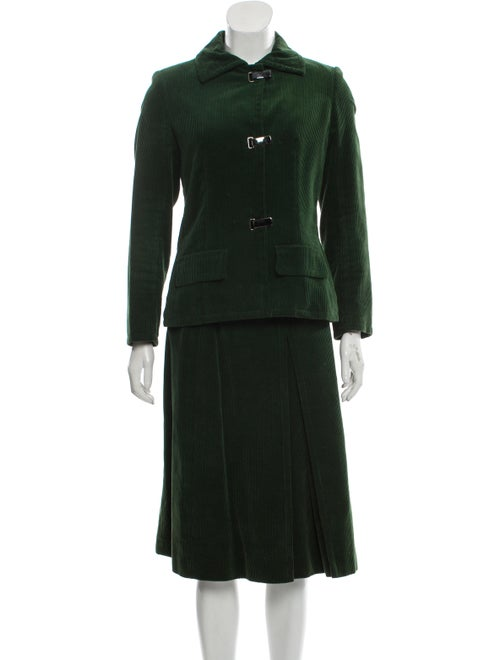 Givenchy Corduroy Knee-Length Skirt Suit Green
