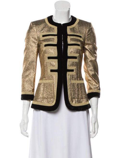 Givenchy Velvet-Trimmed Metallic Jacket Gold