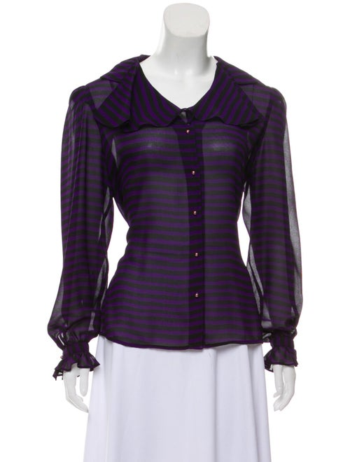 Givenchy Striped Button-Up Blouse Purple