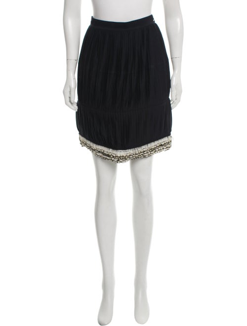 Givenchy Feather Trim Mini Skirt Black