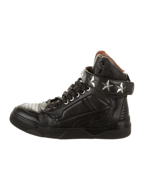 Givenchy Leather Round-Toe Wedge Sneakers Black