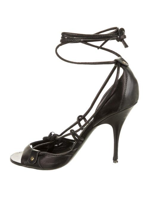 Givenchy Leather Lace-Up Sandals Black