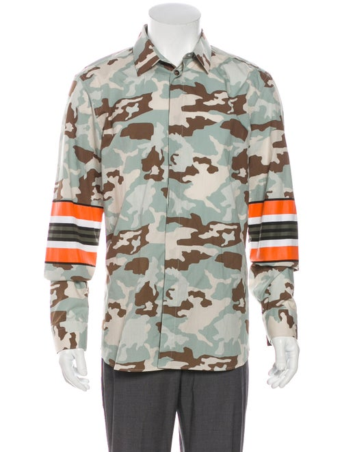 Givenchy Camouflage Printed Dress Shirt Blue