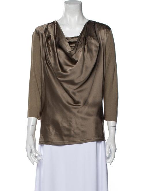 Givenchy Silk Cowl Neck Blouse Grey