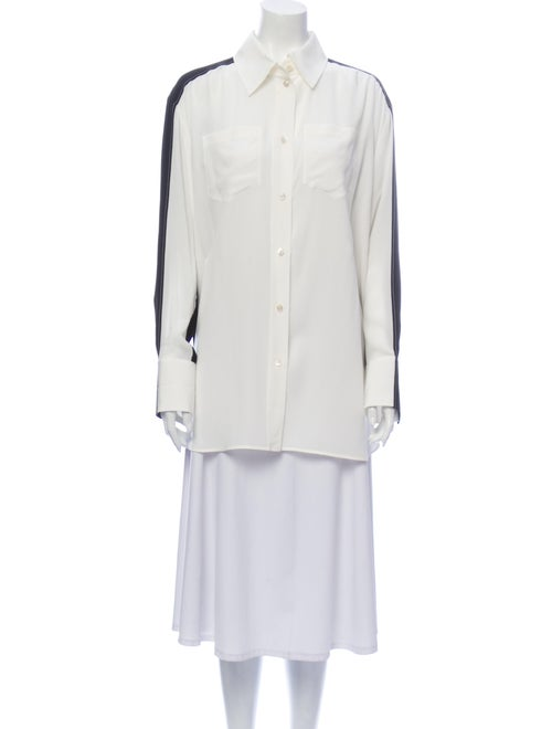 Givenchy Silk Colorblock Pattern Button-Up Top Whi