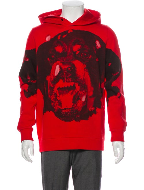 Givenchy Graphic Print Crew Neck Hoodie Red