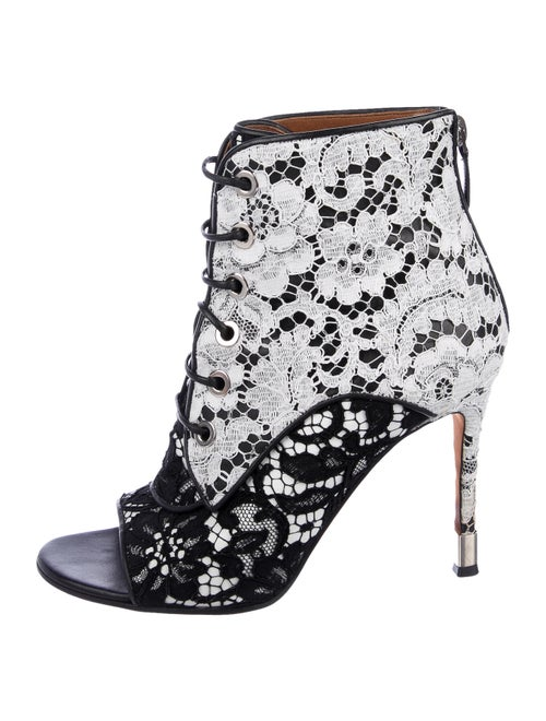 Givenchy Lace Pattern Leather Trim Embellishment L