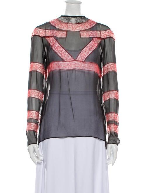 Givenchy Lace Pattern Mock Neck Blouse Black
