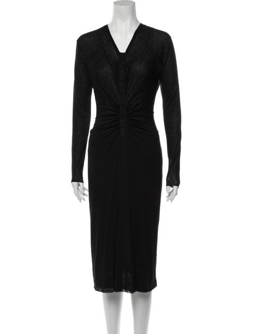 Givenchy V-Neck Midi Length Dress Black