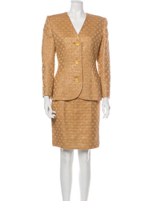 Givenchy Vintage Polka Dot Print Skirt Suit Metall