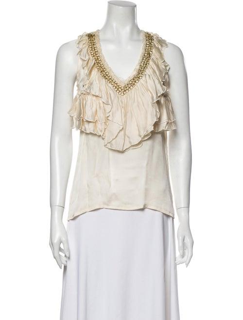 Givenchy Silk V-Neck Blouse White