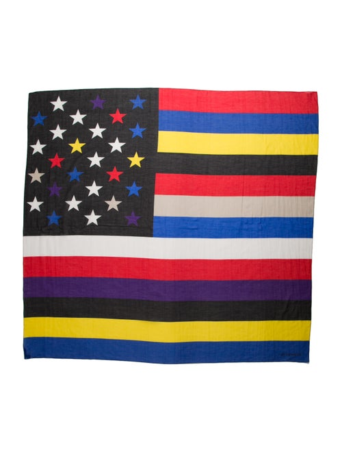 Givenchy Colorful American Flag Scarf w/ Tags Blac