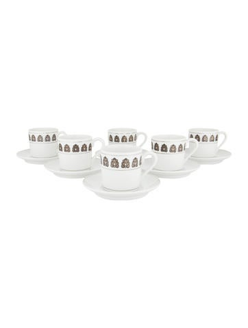 Georg Jensen Set of 6 Gilt Acorn Demitasse Cups & Saucers None