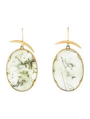 Gabriella Kiss 18k Tourmalinated Quartz Hammered Drop Earrings