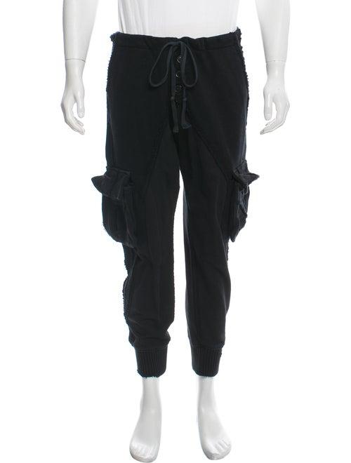 Greg Lauren Knit & Fleece Slim Lounge Pants black