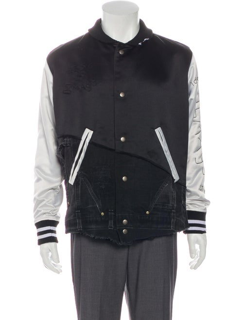 Greg Lauren Denim-Accented Varsity Jacket black