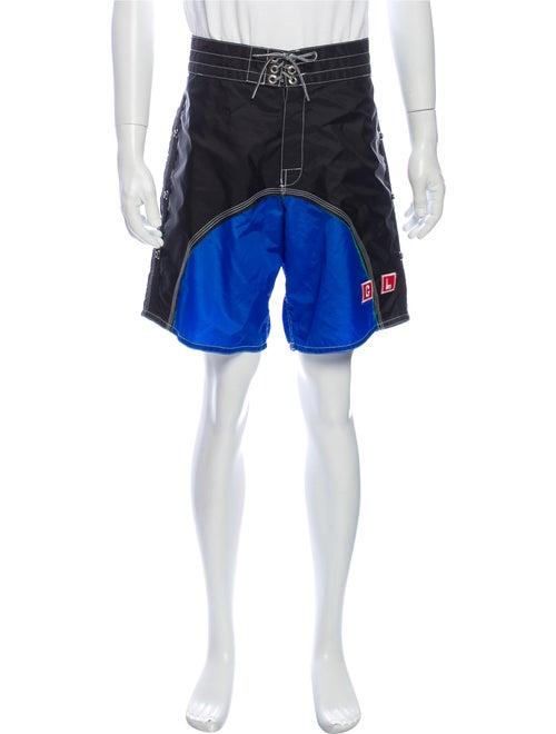 Greg Lauren Colorblock Pattern Shorts Black