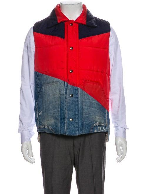 Greg Lauren Colorblock Pattern Vest Red