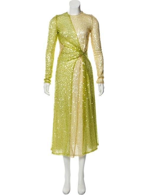 Galvan Sequined Evening Gown Green