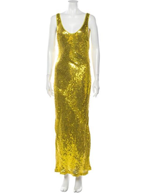 Galvan Silk Long Dress Gold