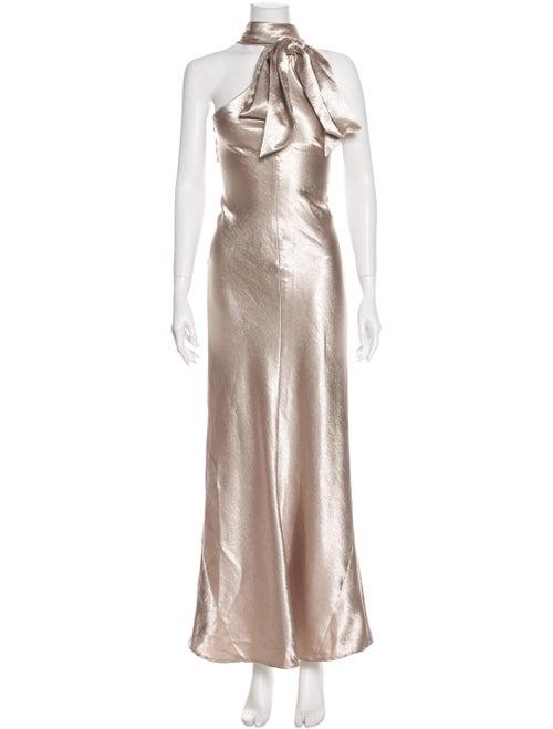 Galvan Tie Neck Long Dress Gold
