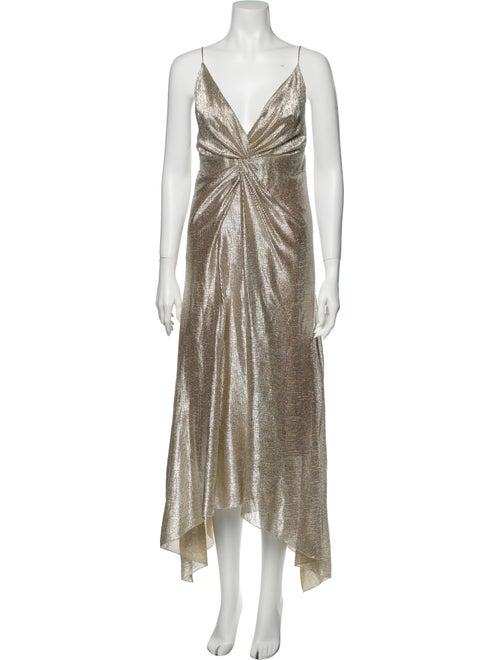 Galvan V-Neck Long Dress Gold