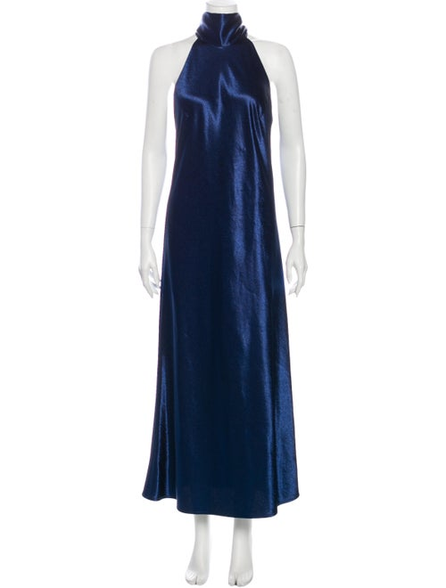 Galvan Turtleneck Long Dress Blue