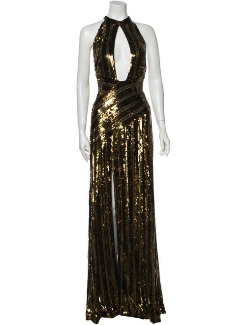 Galvan Halterneck Long Dress Gold