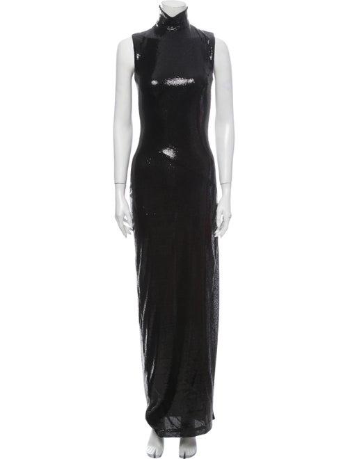 Galvan Turtleneck Long Dress Black