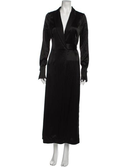 Galvan Satin Callisto Wrap Coat Dress Long Dress w