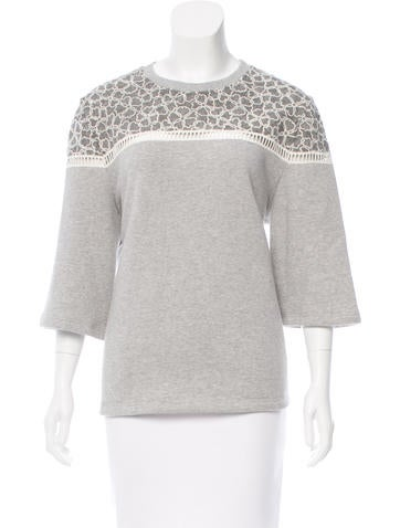 Lace-Trimmed Short Sleeve Sweatshirt