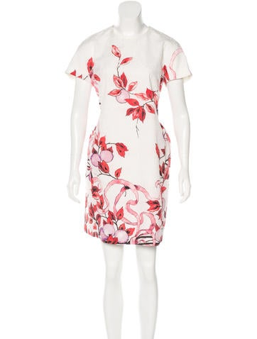 Giamba Foliage Print Jacquard Dress