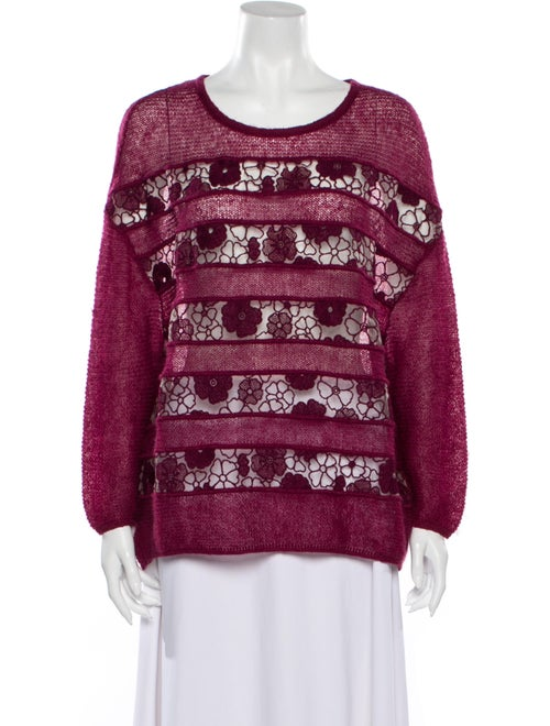 Giamba Lace Pattern Scoop Neck Sweater - image 1