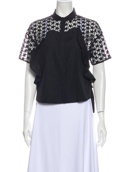 Giamba Short Sleeve Blouse Black - image 1