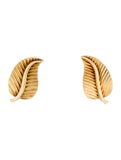 Gübelin 18k Leaf Earrings Yellow