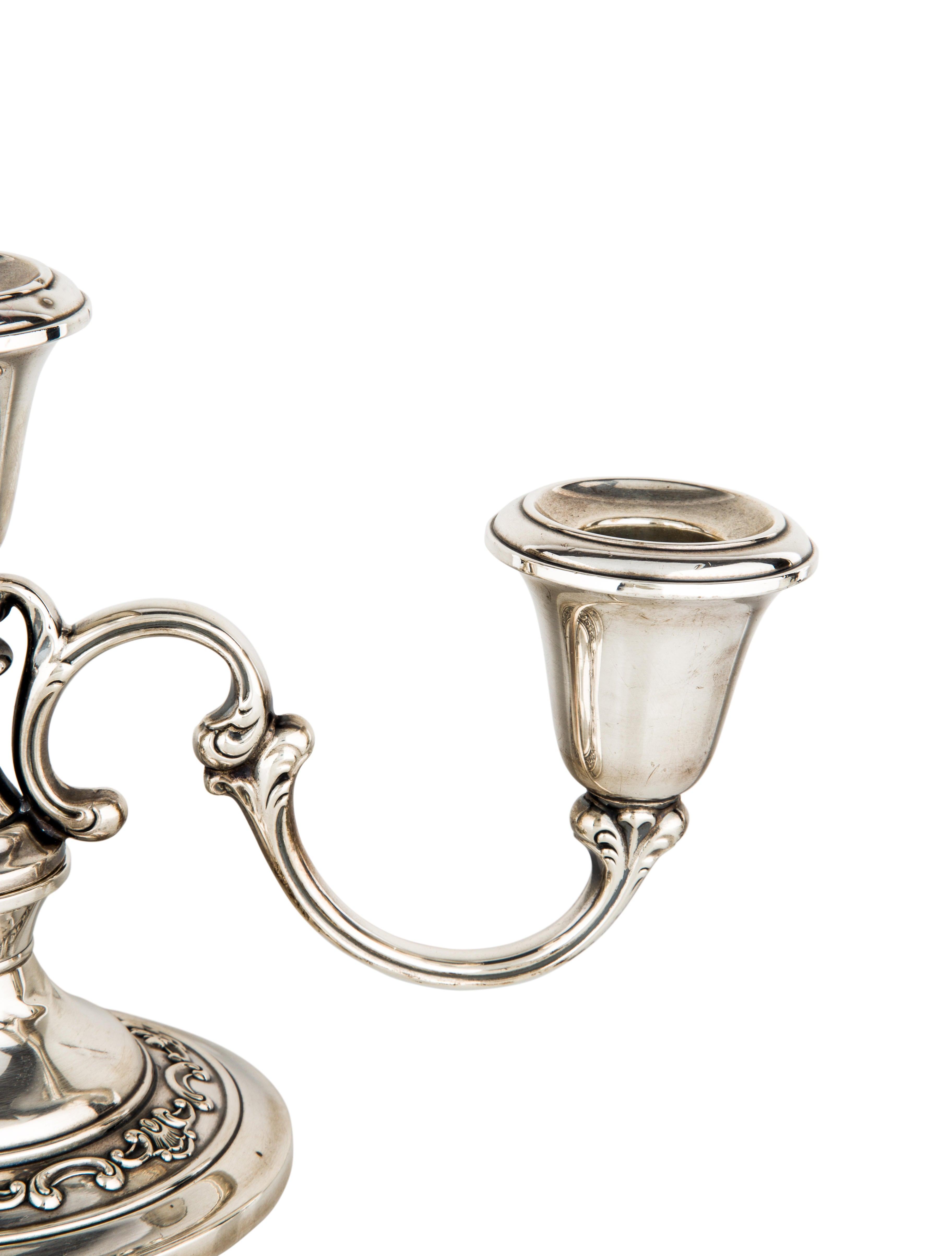 Gorham pair of sterling silver strasbourg candelabra for Artistic accents genuine silver decoration