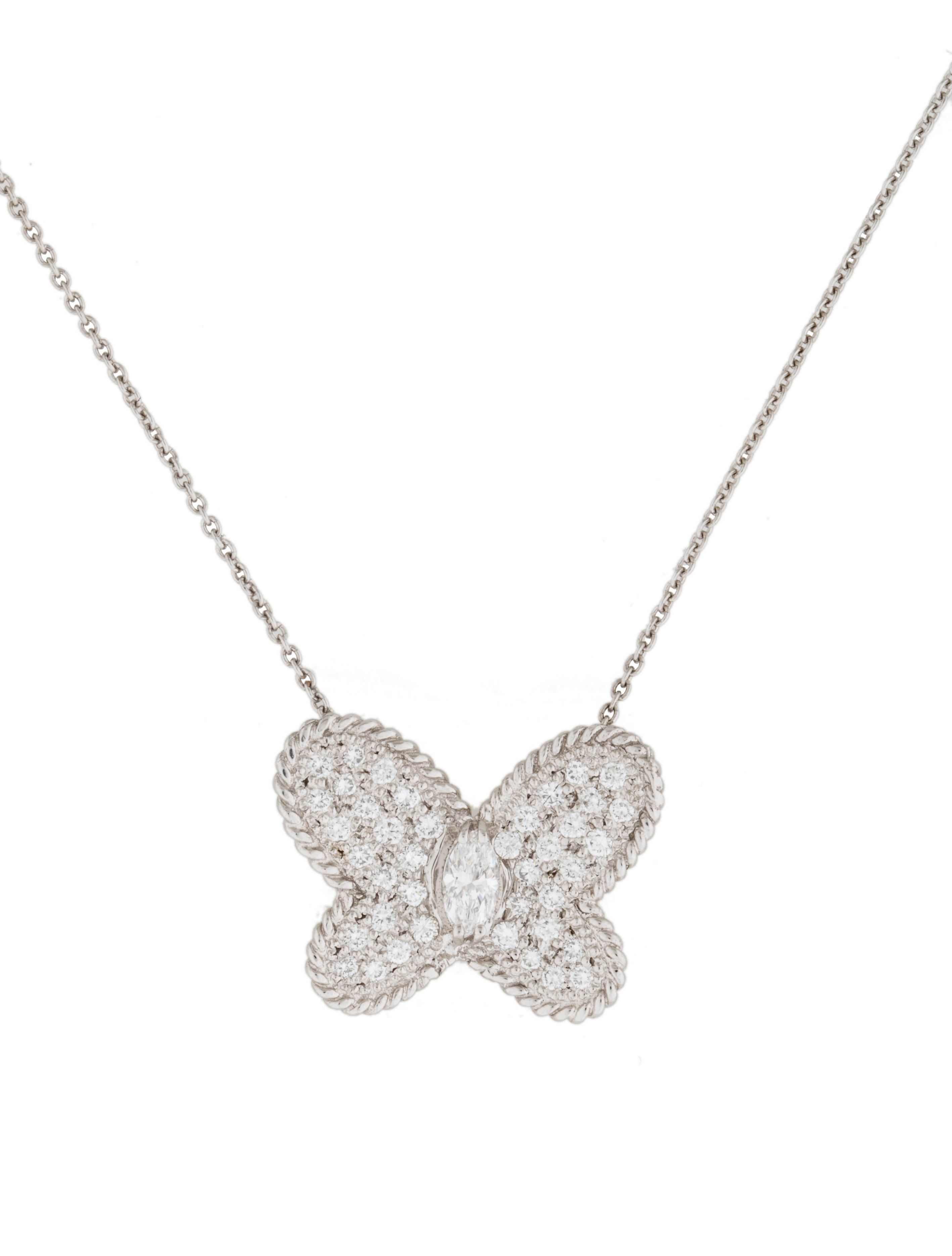 graff platinum butterfly pendant necklace