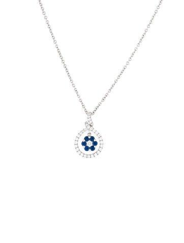 Gregg Ruth 18K Diamond & Sapphire Pendant Necklace