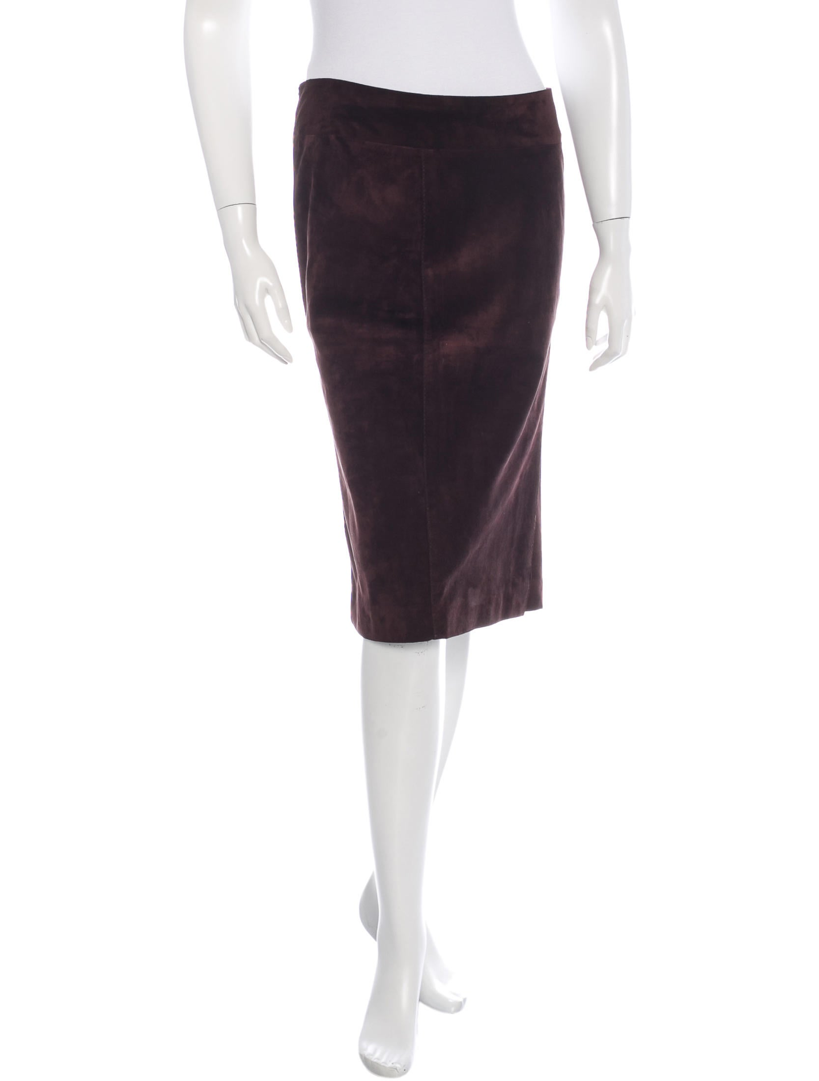Gucci Suede Pencil Skirt - Clothing - GUC101482   The RealReal