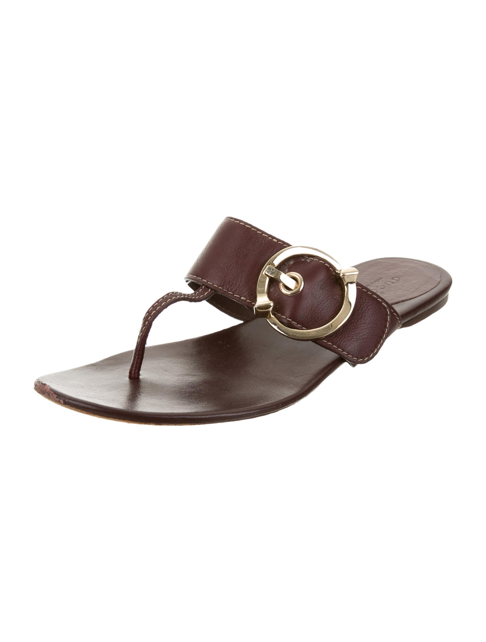 Gucci Leather Buckled Slide Sandals - Shoes - GUC102596 ...