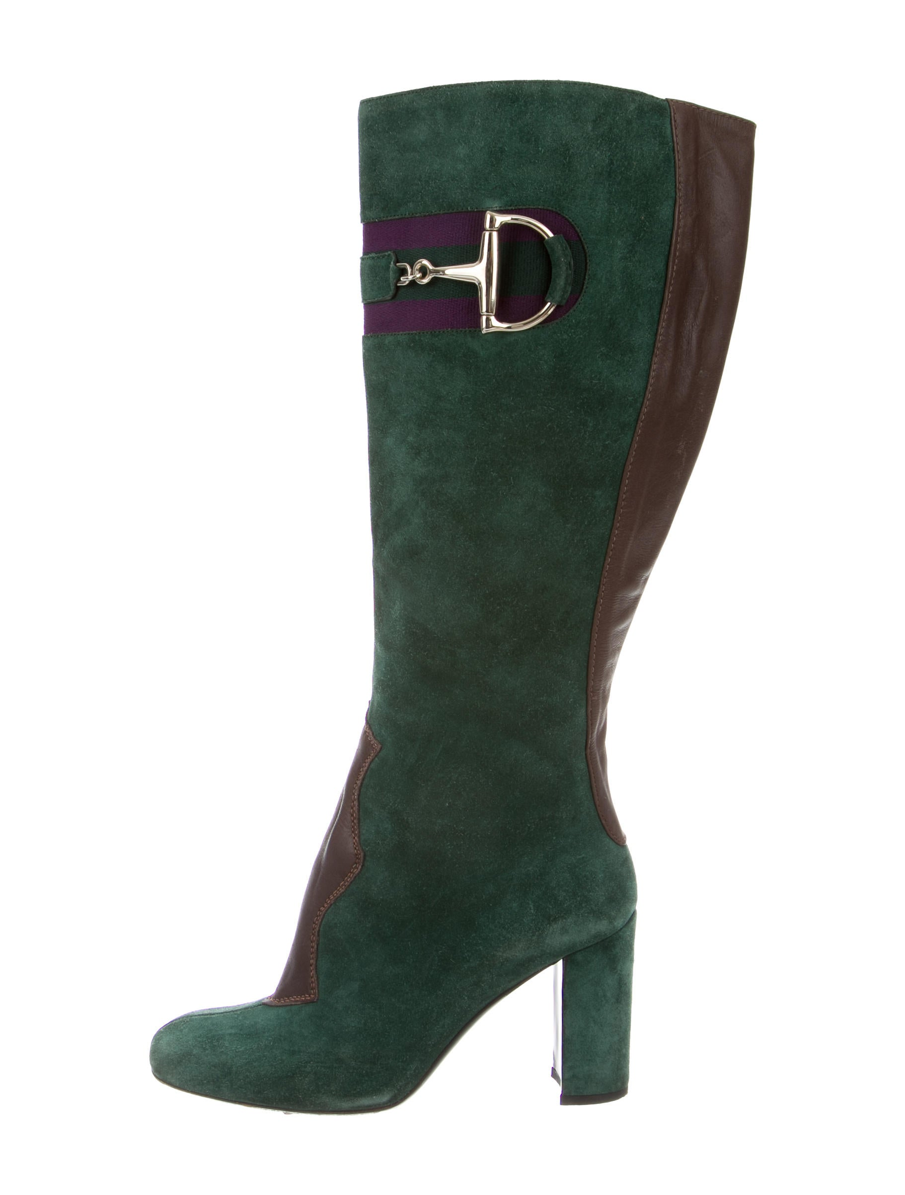 gucci suede knee high boots shoes guc102778 the realreal