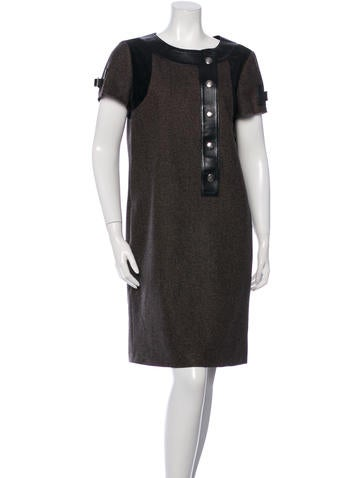 Gucci Leather-Trimmed Knee-Length Dress None