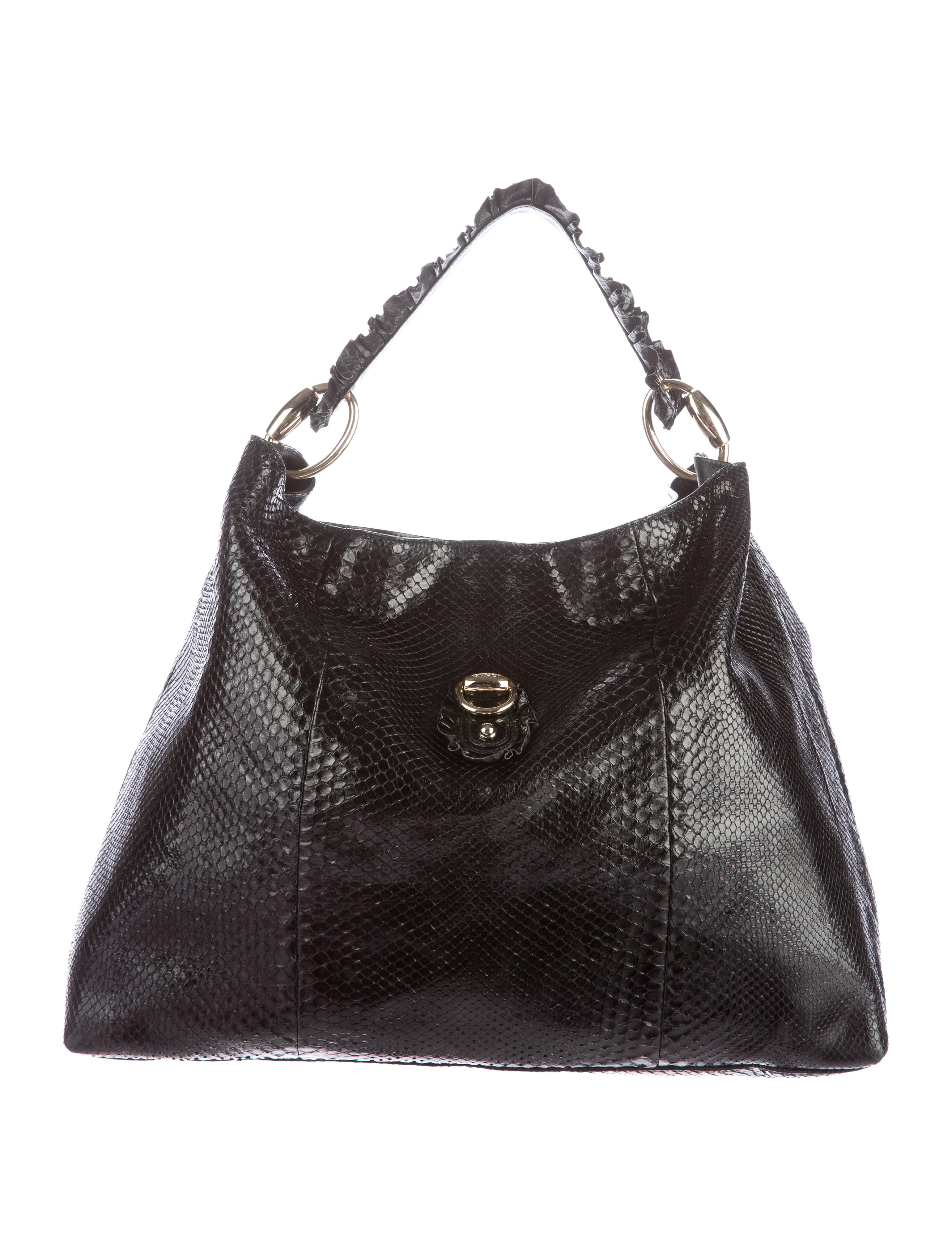 Tawny and brown snakeskin Jimmy Choo Ramona Hobo with gold-tone hardware, single layered shoulder strap, dual exterior zip pockets at sides, taupe suede trim, caramel microfiber lining, four pockets at interior walls; one with zip closure and flip-lock closure at front.