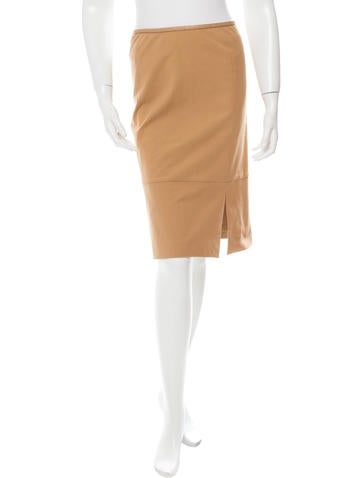 Gucci Leather-Trimmed Pencil Skirt None